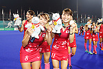 (L to R) <br /> Yukari Mano, <br />  Minami Shimizu (JPN), <br /> AUGUST 31, 2018 - Hockey : <br /> Women's Final match <br /> between Japan 2-1 India  <br /> at Gelora Bung Karno Hockey Field <br /> during the 2018 Jakarta Palembang Asian Games <br /> in Jakarta, Indonesia. <br /> (Photo by Naoki Morita/AFLO SPORT)