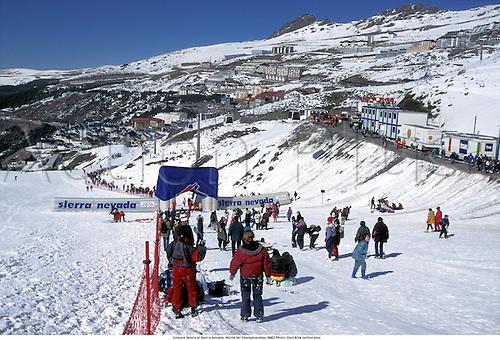 Leisure Skiers at Sierra Nevada, World Ski Championships, 9602 Photo: Glyn Kirk/action plus...1996 ski ing skiing ski-ing resort resorts snow venue venues general view GV recreation pastime past time ski-er ski-ers  skiers