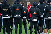 Wednesday  06 January 2016<br /> Pictured: Swansea Caretaker Manager, Alan Curtis  talks to the players during training<br /> Re: Swansea City Training session at the Fairwood training ground, Swansea, Wales, UK
