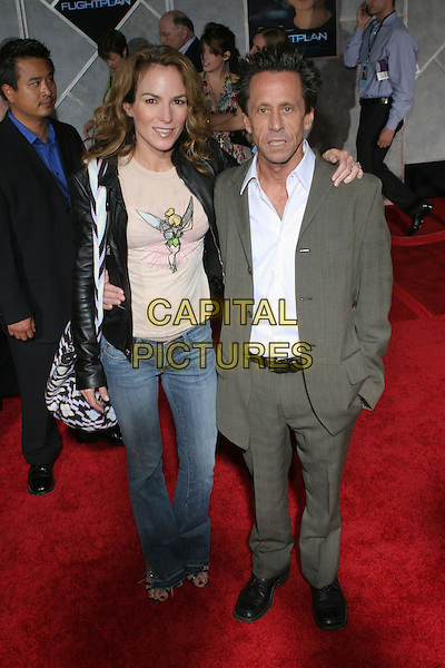 """GIGI LEVANGIE & BRIAN GRAZER.Arrivals for the premiere of """"Flight Plan"""" at El Capitan Theatre, Hollywood,.Los Angeles, 20th September 2005.full length black leather jacket husband wife couple.Ref: ADM/ZL.www.capitalpictures.com.sales@capitalpictures.com.© Capital Pictures."""