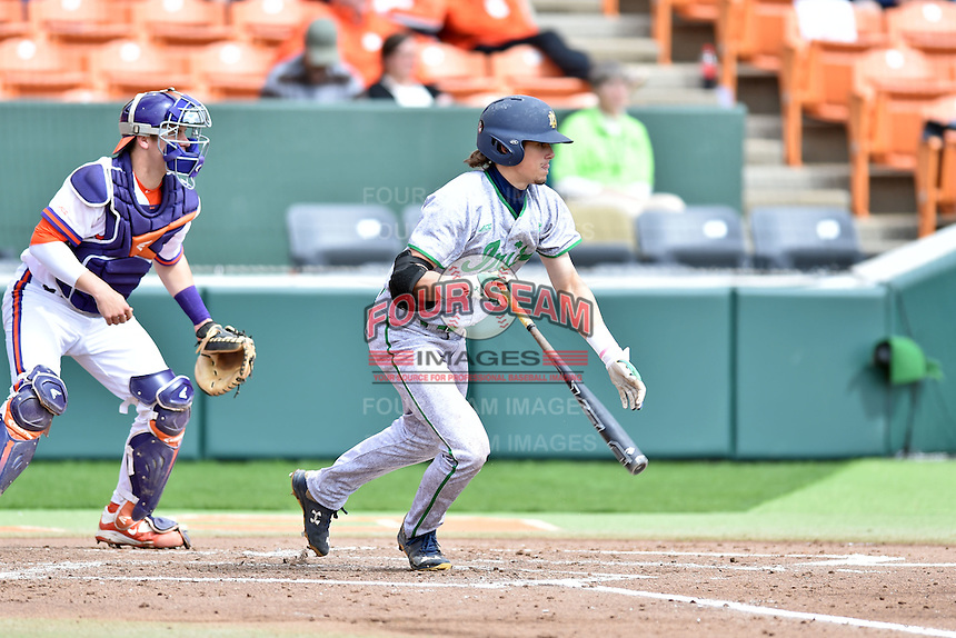 Notre Dame Fighting Irish second baseman Cavan Biggio (23) swings at a pitch during a game against the Clemson Tigers during game one of a double headers at Doug Kingsmore Stadium March 14, 2015 in Clemson, South Carolina. The Tigers defeated the Fighting Irish 6-1. (Tony Farlow/Four Seam Images)