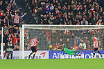 Football match during La Liga with the teams ath. club and fc barcelona in san mames stadium, bilbao<br /> mikel riko in goal action<br /> PHOTOCALL3000