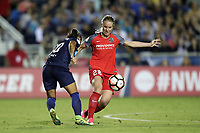Cary, NC - Saturday April 22, 2017: Amandine Henry (28) and Debinha (10) during a regular season National Women's Soccer League (NWSL) match between the North Carolina Courage and the Portland Thorns FC at Sahlen's Stadium at WakeMed Soccer Park.