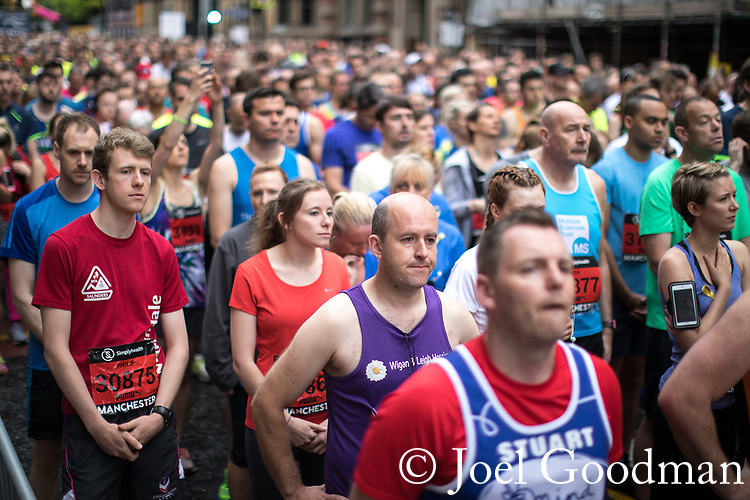 © Joel Goodman - 07973 332324 . 28/05/2017 . Manchester , UK . A one minute silence is held ahead of the start of the event . The Great Manchester Run 2017 . Security is still heightened in Manchester following a murderous bomb attack at an Ariana Grande gig at Manchester Arena on Monday 22nd May . Photo credit : Joel Goodman