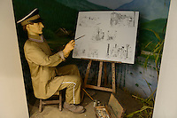 Model of German prisoner of war imprisoned in the Bando camp during WW1, The German House, Naruto, Tokushima Prefecture, Japan, July 9, 2014. The city of Naruto in Tokushima Japan is famous for whirlpools that form in the Naruto Strait. It is home to Otani pottery and the first two temples on the Shikoku 88 temple pilgrimage.