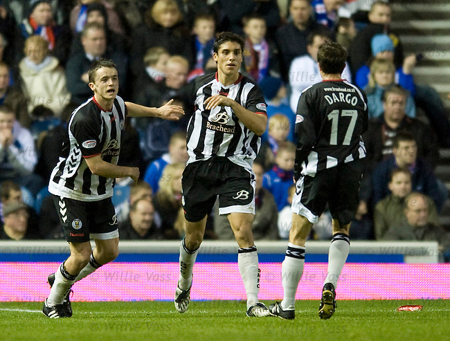 Franco Miranda celebrates his goal for St Mirren