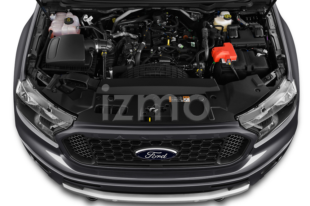 Car Stock 2019 Ford Ranger XLT 4 Door Pick-up Engine  high angle detail view