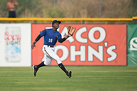 Missoula Osprey center fielder Kristian Robinson (18) prepares to catch a fly ball during a Pioneer League game against the Orem Owlz at Ogren Park Allegiance Field on August 19, 2018 in Missoula, Montana. The Missoula Osprey defeated the Orem Owlz by a score of 8-0. (Zachary Lucy/Four Seam Images)