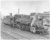 Engineer side view of K-36 #480 idling in the Alamosa yards.<br /> D&amp;RGW  Alamosa, CO
