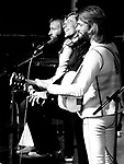 Bee Gees 1973 Maurice Gibb, Robin Gibb and Barry Gibb at the London Palladium
