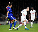 Tottenham's Christian Eriksen tussles with Olympiakos Andreas Bouchalakis during the UEFA Champions League match at the Tottenham Hotspur Stadium, London. Picture date: 26th November 2019. Picture credit should read: David Klein/Sportimage