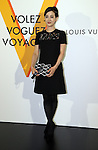 """April 21, 2016, Tokyo, Japan - Japanese actress Christel Takigawa smiles during a photo call for the reception of Louis Vuitton's art exhibition in Tokyo on Thursday, April 21, 2016. French luxury barnd Luis Vuitton will hold the exhibition """"Volez, Voguez, Voyagez"""" in Tokyo from April 23 through June 19.  (Photo by Yoshio Tsunoda/AFLO) LWX -ytd-"""