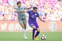 Orlando, FL - Sunday May 14, 2017: Yuri Kawamura, Marta during a regular season National Women's Soccer League (NWSL) match between the Orlando Pride and the North Carolina Courage at Orlando City Stadium.