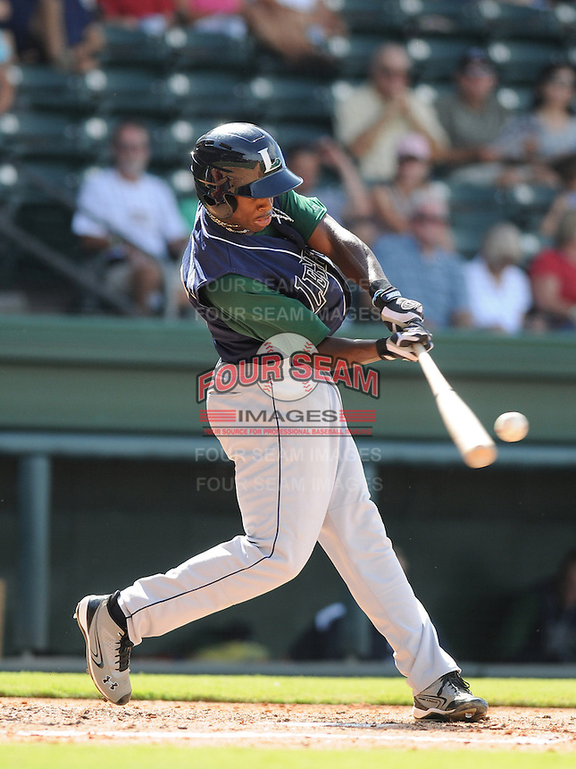 Infielder Jose Fernandez (35) of the Lexington Legends, a Houston Astros affiliate, in a game against the Greenville Drive on July 22, 2012, at Fluor Field at the West End in Greenville, South Carolina. Lexington won, 13-7. (Tom Priddy/Four Seam Images)
