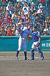 (L-R) Kona Takahashi, Shunki Ogawa (Maebashi Ikuei),<br /> AUGUST 22, 2013 - Baseball :<br /> Pitcher Kona Takahashi of Maebashi Ikuei talks with catcher Shunki Ogawa in the ninth inning during the 95th National High School Baseball Championship Tournament final game between Maebashi Ikuei 4-3 Nobeoka Gakuen at Koshien Stadium in Hyogo, Japan. (Photo by Katsuro Okazawa/AFLO)9 ()