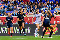 HARRISON, NJ - SEPTEMBER 29: Marisa Viggiano #23 of the Orlando Pride is defended by Sarah Killion #16 and Erica Skroski #8 of Sky Blue FC during a game between Orlando Pride and Sky Blue FC at Red Bull Arena on September 29, 2019 in Harrison, New Jersey.