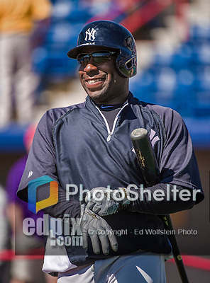 11 March 2014: New York Yankees infielder Zelous Wheeler awaits his turn in the batting cage prior to a Spring Training game against the Washington Nationals at Space Coast Stadium in Viera, Florida. The Nationals defeated the Yankees 3-2 in Grapefruit League play. Mandatory Credit: Ed Wolfstein Photo *** RAW (NEF) Image File Available ***