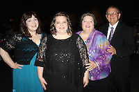NWA Democrat-Gazette/CARIN SCHOPPMEYER Jessica Kropp, Arts of Educator of the Year honoree (second from left) is joined by Morgan Hicks of TheatreSquared (from left) and her parentd Judy and Larry Kropp at the Gala for Education.