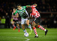 Lincoln City's John Akinde vies for possession with Yeovil Town's Adel Gafaiti<br /> <br /> Photographer Chris Vaughan/CameraSport<br /> <br /> The EFL Sky Bet League Two - Lincoln City v Yeovil Town - Friday 8th March 2019 - Sincil Bank - Lincoln<br /> <br /> World Copyright © 2019 CameraSport. All rights reserved. 43 Linden Ave. Countesthorpe. Leicester. England. LE8 5PG - Tel: +44 (0) 116 277 4147 - admin@camerasport.com - www.camerasport.com