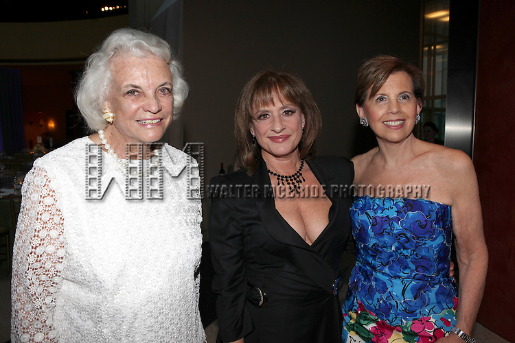 Sandra Day O'Connor & Patti Lupone with Adrienne Arsht.attending the Signature Theatre Stephen Sondheim Award Gala reception honoring Patti Lupone at the Embassy of Italy in Washington D.C. on 4/16/2012.