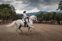 Lorena Morales Ponce and her daughter Roberta at her father Abelardo Morales´hacienda Las Morerías, Santiago near Monterrey, Nuevo Leon, Mexico