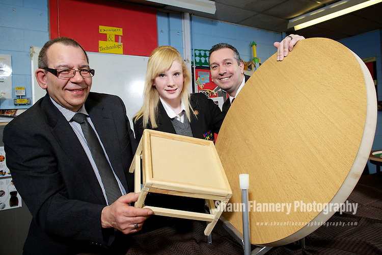 Pix: Shaun Flannery/shaunflanneryphotography.com...COPYRIGHT PICTURE>>SHAUN FLANNERY>01302-570814>>07778315553>>..16th March 2011..........Birley Manufacturing Limited..Supporting a school donation programme of wood offcuts to Handsworth Grange School, Sheffield..Dennis Spears (glasses) and Richard Mayo of Birley Manufacturing pictured with Imogen Shennett (year 10)..