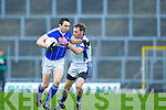 Laune Rangers John Sheahan stops Kerins O'Rahillys Brain Moranduring their Senior Club Championship semi final clash in Fitzgerald Stadium on Saturday