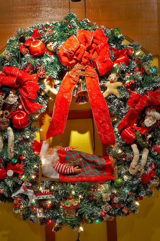 Christmas wreath with santa. Providence Festival of Trees. Portland. Oregon