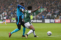 Fleetwood Town's Devante Cole is held off by Plymouth Argyle's Yann Songo'o<br /> <br /> Photographer Andrew Kearns/CameraSport<br /> <br /> The EFL Sky Bet League One - Plymouth Argyle v Fleetwood Town - Saturday 7th October 2017 - Home Park - Plymouth<br /> <br /> World Copyright &copy; 2017 CameraSport. All rights reserved. 43 Linden Ave. Countesthorpe. Leicester. England. LE8 5PG - Tel: +44 (0) 116 277 4147 - admin@camerasport.com - www.camerasport.com