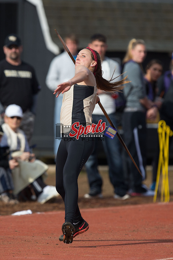 Megan Reardon of the Wake Forest Demon Deacons competes in the women's javelin at the Wake Forest Open on March 21, 2015 in Winston-Salem, North Carolina.  (Brian Westerholt/Sports On Film)