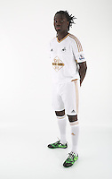 Wednesday 06 May 2015<br /> Pictured: Bafetimbi Gomis in home kit<br /> Re: Swansea City FC new Adidas kit at Fairwood Training Ground.