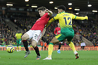 Daniel James of Manchester United is challenged by Jamal Lewis of Norwich City during the Premier League match between Norwich City and Manchester United at Carrow Road on October 27th 2019 in Norwich, England. (Photo by Matt Bradshaw/phcimages.com)<br /> Foto PHC/Insidefoto <br /> ITALY ONLY
