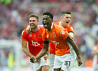 Blackpool players celebrating after the Sky Bet League 2 PLAY OFF FINAL match between Exeter City and Blackpool at Wembley Stadium, London, England on 28 May 2017. Photo by Andrew Aleksiejczuk.