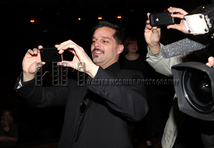 Ricky Martin.attending the Broadway Opening Night Actors' Equity Gypsy Robe Ceremony for recipient Matt Wall in 'EVITA' at the Marquis Theatre in New York City on 4/5/2012 © Walter McBride/WM Photography