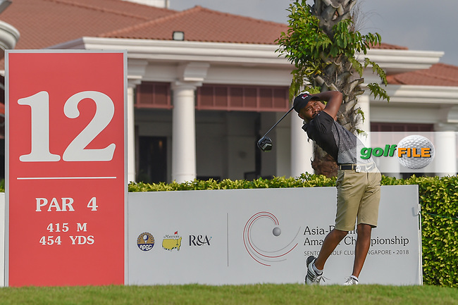 Saleh ALKAABI (QAT) watches his tee shot on 12 during Rd 2 of the Asia-Pacific Amateur Championship, Sentosa Golf Club, Singapore. 10/5/2018.<br /> Picture: Golffile | Ken Murray<br /> <br /> <br /> All photo usage must carry mandatory copyright credit (© Golffile | Ken Murray)