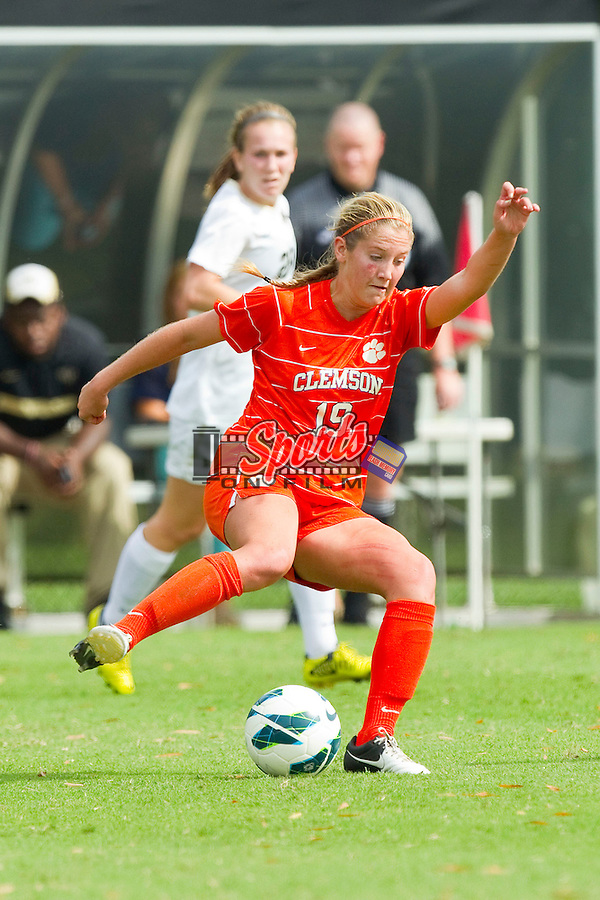 Jenna Polonsky (19) of the Clemson Tigers in action against the Wake Forest Demon Deacons at Spry Soccer Stadium on September 30, 2012 in Winston-Salem, North Carolina.  The Demon Deacons defeated the Tigers 4-0.  (Brian Westerholt/Sports On Film)