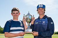 Joint winners of the MVP award, Jacob Cumming of OBHS and Reece Mariu of St Andrew College.  The Gillette Cup Finals, Hagley Park, Christchurch, New Zealand. 5th December 2019. Photo: John Davidson, www.bwmedia.co.nz