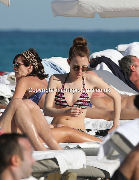 NON EXCLUSIVE PICTURE: MATRIXPICTURES.CO.UK.PLEASE CREDIT ALL USES..UK, AUSTRALIA, NEW ZEALAND AND ASIA RIGHTS ONLY..English 'Made In Chelsea' reality television star Rosie Fortescue is pictured enjoying the sun on Miami Beach during her Christmas vacation...DECEMBER 27th 2012..REF: KDA 126133..XIM