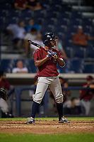 Mahoning Valley Scrappers pinch hitter Ronny Dominguez (1) at bat during a game against the Williamsport Crosscutters on August 28, 2018 at BB&T Ballpark in Williamsport, Pennsylvania.  Williamsport defeated Mahoning Valley 8-0.  (Mike Janes/Four Seam Images)