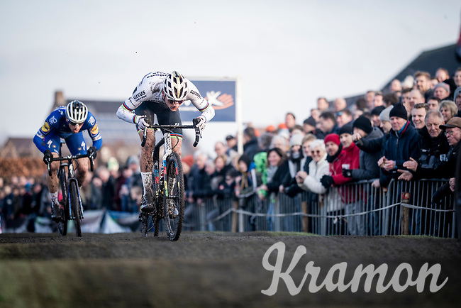 CX World Champion Mathieu van der Poel (NED/Corendon-Circus) attacking the pump track with Zdenek Stybar (CZE/Deceuninck - QuickStep) in tow<br /> <br /> Azencross Loenhout 2019 (BEL)<br />  <br /> ©kramon