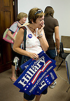 Hillary Clinton supporter Kathy Skerl (cq) at a PUMA PAC, People United Means Action, meeting at the Denver, Colorado, USA headquarters, Sunday, August 24, 2008. PUMA is working to support Hillary Clinton against Barack Obama who is scheduled to accept the nomination for president at the Democratic Nation Convention..PHOTOS/ MATT NAGER