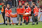 05.10.2019, BayArena, Leverkusen, GER, 1. FBL, Bayer 04 Leverkusen vs. RB Leipzig,<br />  <br /> DFL regulations prohibit any use of photographs as image sequences and/or quasi-video<br /> <br /> im Bild / picture shows: <br /> Charles Aránguiz (Leverkusen #20), verletzt sich heftig muss behandelt und abtransportiert werden <br /> <br /> Foto © nordphoto / Meuter
