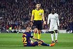 UEFA Champions League 2017/2018.<br /> Round of 16 2nd leg.<br /> FC Barcelona vs Chelsea FC: 3-0.<br /> Aleix Vidal, Damir Skomina &amp; N'Golo Kante.