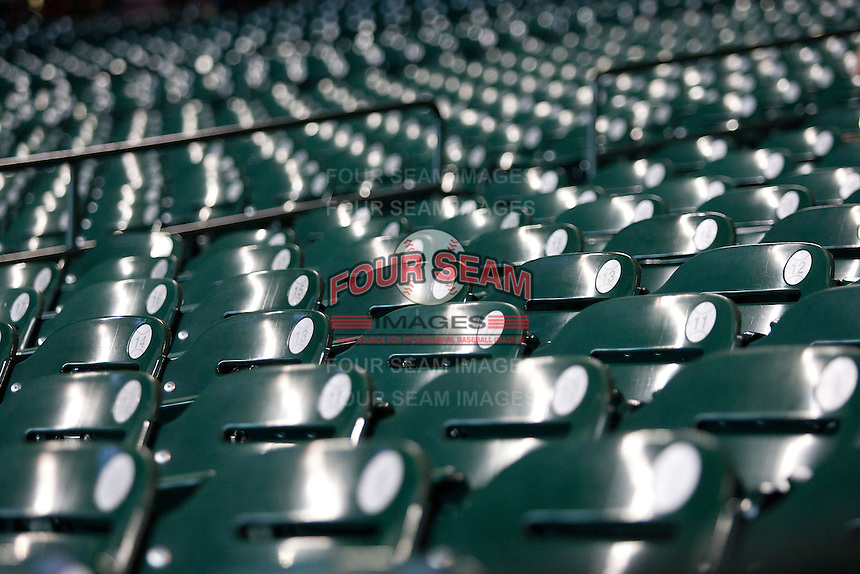 Empty seats at Minute Maid Park in Houston, Texas. (Andrew Woolley/Four Seam Images).
