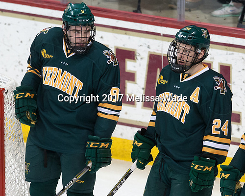Brian Bowen (UVM - 9), Chris Muscoby (UVM - 24) - The visiting University of Vermont Catamounts tied the Boston College Eagles 2-2 on Saturday, February 18, 2017, Boston College's senior night at Kelley Rink in Conte Forum in Chestnut Hill, Massachusetts.Vermont and BC tied 2-2 on Saturday, February 18, 2017, Boston College's senior night at Kelley Rink in Conte Forum in Chestnut Hill, Massachusetts.
