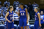 DURHAM, NC - NOVEMBER 26: Presbyterian's Ericka Blackwell-Boyden (44) and Janie Miles (14). The Duke University Blue Devils hosted the Presbyterian College Blue Hose on November 26, 2017 at Cameron Indoor Stadium in Durham, NC in a Division I women's college basketball game. Duke won the game 79-45.