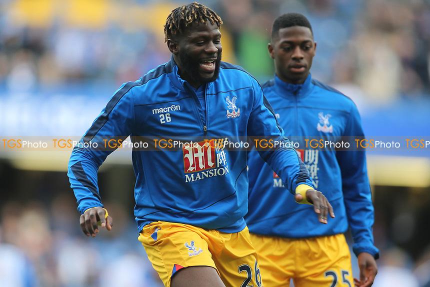 Bakary Sako of Crystal Palace warms up during Chelsea vs Crystal Palace, Premier League Football at Stamford Bridge on 1st April 2017