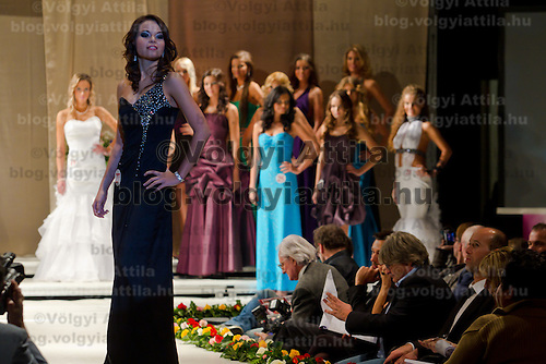 Nora Virag attends the Miss Hungary 2010 beauty contest held in Budapest, Hungary on November 29, 2010. ATTILA VOLGYI