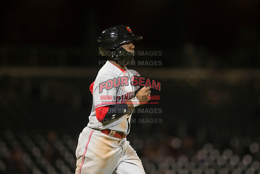 Scottsdale Scorpions second baseman Shed Long (6), of the Cincinnati Reds organization, jogs towards first base after drawing a walk during an Arizona Fall League game against the Mesa Solar Sox at Sloan Park on October 10, 2018 in Mesa, Arizona. Scottsdale defeated Mesa 10-3. (Zachary Lucy/Four Seam Images)