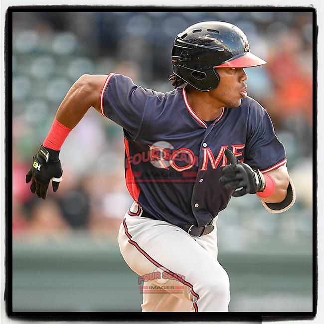 Justin Dean (14), a 2018 #Braves draft pick from Lenoir-Rhyne and a graduate of Mauldin High School, runs out his first hit as a member of the Rome Braves in a game against the Greenville Drive on Friday, August 3, 2018, at Fluor Field at the West End in Greenville, South Carolina. (Tom Priddy/Four Seam Images) #MiLB